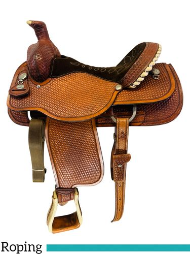 SOLD 2021/04/12  15.5Inch Used Circle Y Roping Saddle 2714 *Free Shipping*
