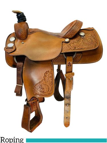 15.5Inch Used Crates Mike Beers Team Roping Saddle 9105 *Free Shipping*