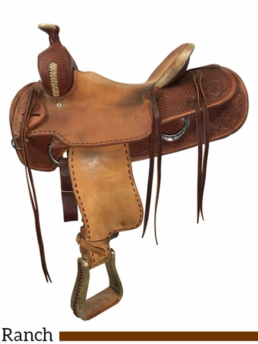 SOLD 2021/04/10 15.5Inch Used Rocking T Working Ranch Saddle Custom *Free Shipping*