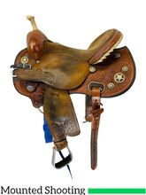 15 Inch Used Circle Y Kenda Lenseigne Quick Shot Mounted Shooting Flex Saddle 2401 *Free Shipping*