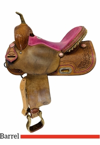 15 Inch Used HR Custom Pink Barrel Racing Saddle *Free Shipping*