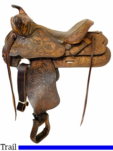 SOLD 2020/11/20  15 Inch Used Tex Tan Trail Saddle 673 *Free Shipping*