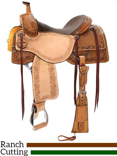 """DISCONTINUED 6/15/2020 15"""" to 17"""" Reinsman Ranch Cutting Saddle 4825 w/Free Pad"""