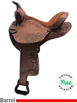 "15"" Used Custom Medium Barrel Saddle uscu4168 *Free Shipping*"