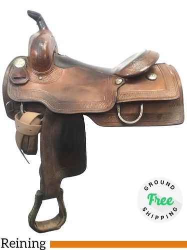 "SOLD 2019/10/18  PRICE REDUCED! 15"" Used Silver Mesa Medium Reining Saddle ussm3977 *Free Shipping*"