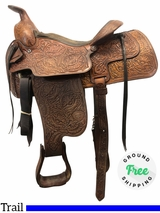 """PRICE REDUCED! 15"""" Used Tex Tan Hereford Medium Trail-Arena Saddle 112-67761 ustt4113 *Free Shipping*"""