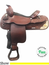 "PRICE REDUCED! 15"" Used Tex Tan Medium Show Saddle ustt3629 *Free Shipping*"