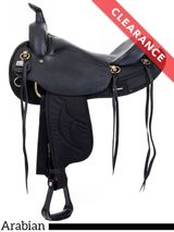 """15.5"""" Big Horn Black Synthetic Arabian Trail Saddle Brown, CLEARANCE"""