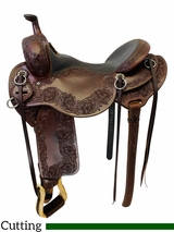 PRICE REDUCED! 16.5Inch Used Steve Lantvit Round Skirt Ranch Cutter Saddle Custom *Free Shipping*