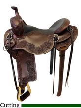 SOLD 2019/12/3  PRICE REDUCED! 16.5Inch Used Steve Lantvit Round Skirt Ranch Cutter Saddle Custom *Free Shipping*