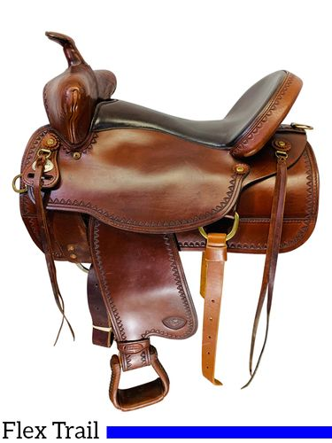 PRICE REDUCED! 16.5Inch Used TexTan Tex-Flex Trail Saddle 08-TF4013 *Free Shipping*