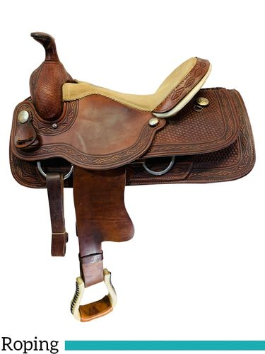 SOLD 2021/03/04 16 Inch Used Alamo Roping Saddle 1993 *Free Shipping*