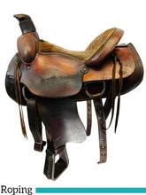 16 Inch Used American Saddlery Plain All Around Roping Saddle 756 *Free Shipping*