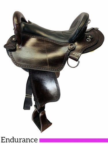 SOLD 2021/04/13  16 Inch Used Double Creek Henry Miller Endurance Saddle 115 *Free Shipping*