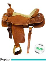 "16"" Used Double J Saddlery Full Tooled Team Roper usjj4430 *Free Shipping*"