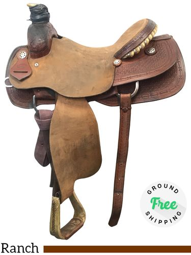 """SOLD 2018  16"""" Used Fort Worth Wide Ranch Saddle usfw3945 *Free Shipping*"""