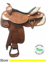 "PRICE REDUCED! 16"" Used Tex Tan Medium Show Saddle ustt3998 *Free Shipping*"