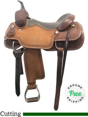 """PRICE REDUCED! 17"""" Used Circle Y Canton Wide Cutting Saddle 2543 uscy3958 *Free Shipping*"""