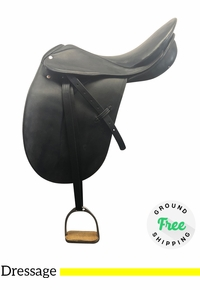 "18"" Used Courbette Extra Wide English Dressage Saddle Charles de Kunffy Grand Prix usen4148 *Free Shipping*"