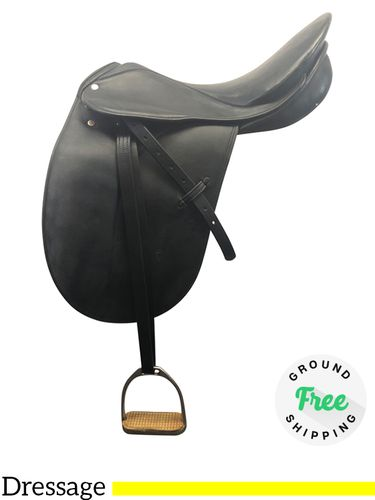 """DISCONTINUED 2019/12/04  18"""" Used Courbette Extra Wide English Dressage Saddle Charles de Kunffy Grand Prix usen4148 *Free Shipping*"""