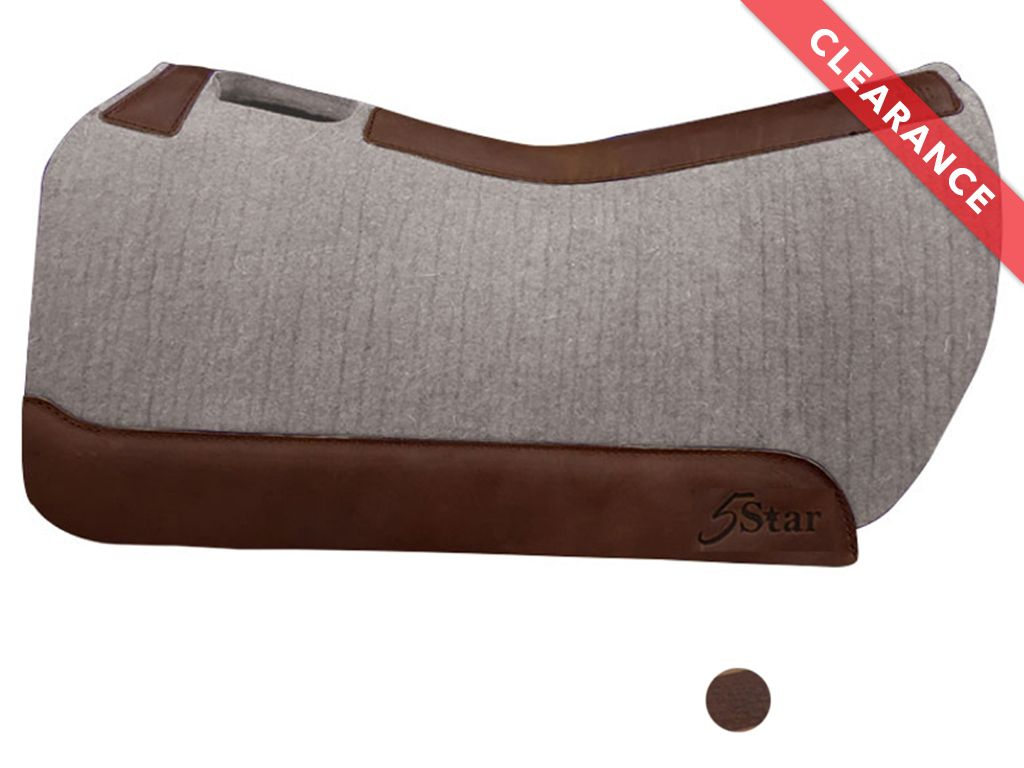 5 Star 100% Wool Felt Barrel Racer Saddle Pad, Round Back CLEARANCE