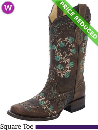 6.5B Women's Corral Brown & Turquoise Floral Boots R1373, CLEARANCE
