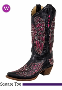 7B, 7.5B, 8.5B, 8C Women's Corral Black & Pink Winged Cross Boots With Studs & Crystals A1049
