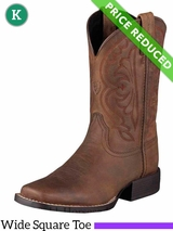 8 Kid's Ariat Distressed Brown Quickdraw Boots 10004853 CLEARANCE