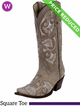 9.5B Women's Corral Bone Floral Full Stitch Boots G1086 CLEARANCE