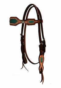 Alamo Teal Inlays & Copper Beaded Headstall 2285-CE