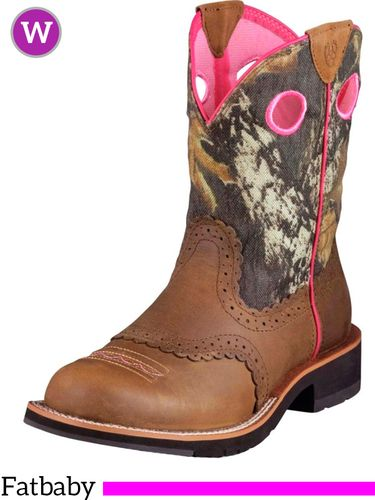 6.5B 7.5B Women's Ariat Camo Distressed Brown Fatbaby Boots 10006854