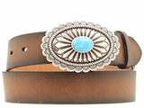 Ariat Womens Brown with Turquoise Stone Belt A1512002