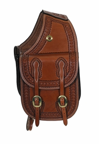Billy Cook Waffle Border Tooled Leather Saddle Bag 15-2733