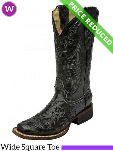 Women's 7 Medium Corral Black Snake Inlay Boots A2402, CLEARANCE