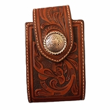 Brown Floral Tooled with Silver Concho Phone Case 0688408