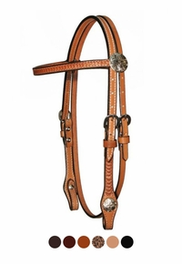 """Circle Y 5/8"""" Border Tooled with Tulip Conchos Browband Headstall 0252-73"""