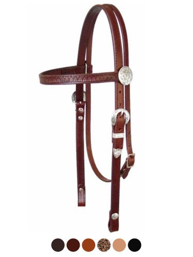 Circle Y Shell Tooled and Silver Headstall 010020