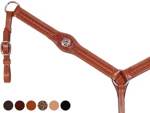 Circle Y Gunmetal Old West Flared Body Breast Collar 4206-61