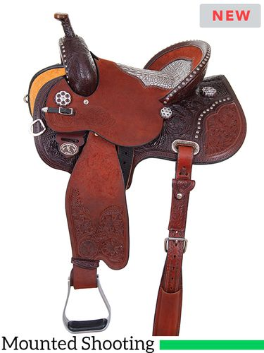 "13.5"" to 16"" Circle Y Kenda Lenseigne Runnin' Gun Mounted Shooter Saddle 2406 w/Free Pad"