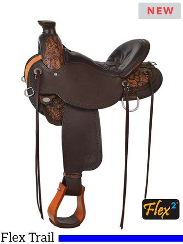 """14"""" to 17"""" Circle Y Paisely Flex2 Trail Saddle 1154 w/Free Pad"""