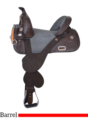 "13.5"" to 16.5"" Circle Y Tammy Fischer Medium Horn Texas Signature Treeless Barrel Saddle 1307 w/Free Pad"