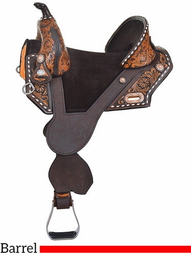 """13.5"""" to 16.5"""" Circle Y Tammy Fischer Vintage Daisy Treeless Short Horn Barrel Saddle 1304 w/Free Pad"""