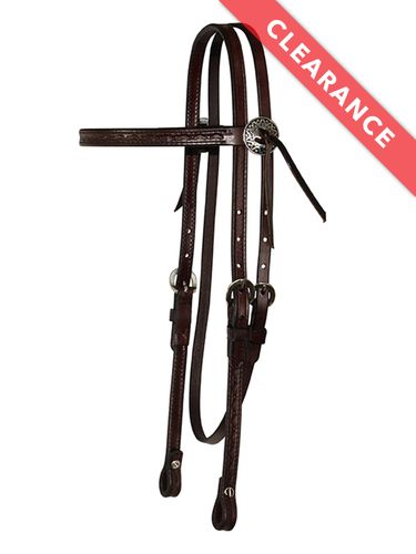 SOLD 2020/01/02  Circle Y Browband Border Tooled Headstall 0125-68, CLEARANCE
