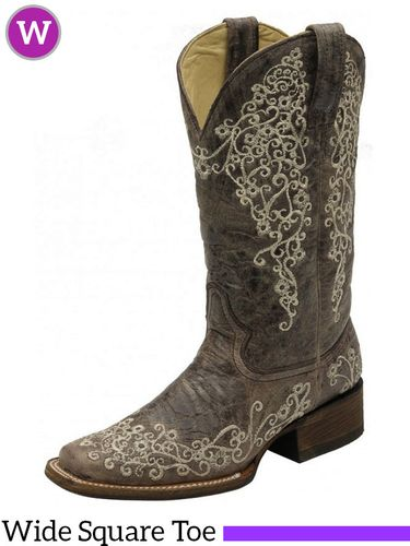 Women's Corral Brown Crater Bone Embroidery Square Toe A2663