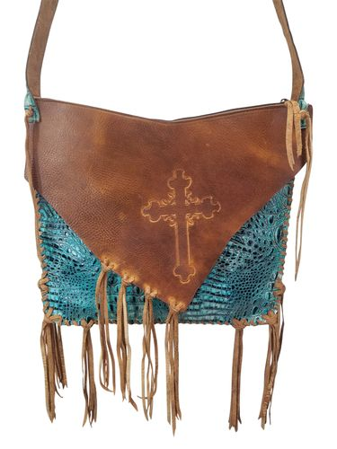 Custom Leather Big Tote with Laced Cross AH006