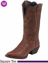 Women's Justin Dark Brown Mustang Cowhide Boots L2559