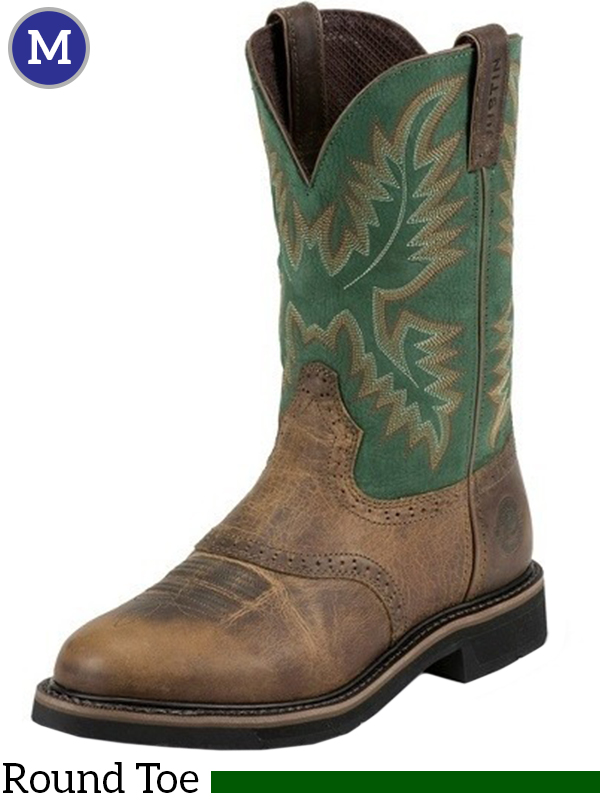 Men S Justin Blade Green Stampede Work Boots 4670