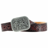 Ladies Ariat Dark Brown Tooled Belt with Buckle A10006957