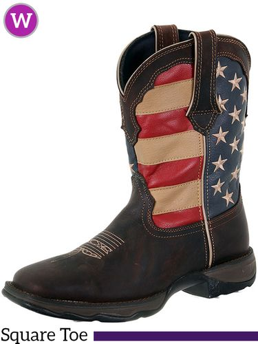 DISCONTINUED 2019/12/21  11B Women's Durango Rebel Patriotic Pull-On Western Boots RD4414
