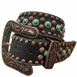 Nocona Black Belt with Turquoise and Copper Accents 34987